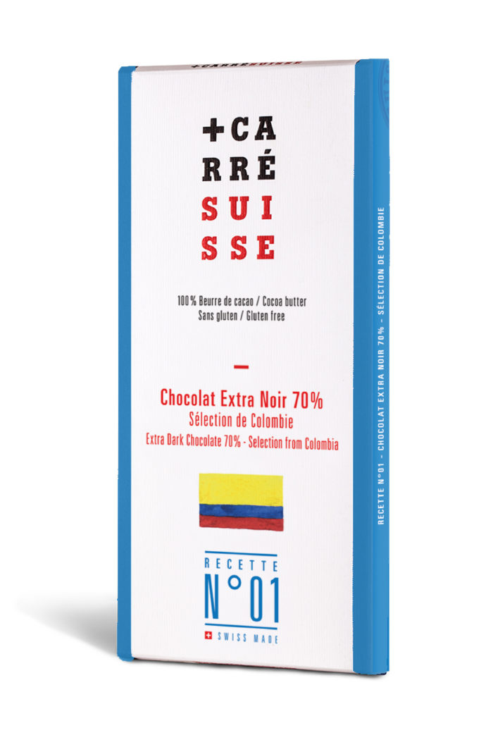 Chocolat Carré Suisse - Colombie extra noir 70%